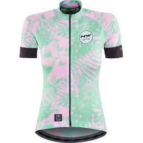 Northwave Leaves SS Jersey Women Switch Line green forest/pink